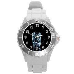 Glass Water Liquid Background Round Plastic Sport Watch (l) by BangZart