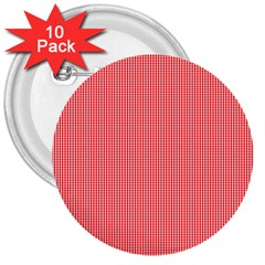 Christmas Red Velvet Mini Gingham Check Plaid 3  Buttons (10 Pack)  by PodArtist