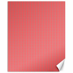 Christmas Red Velvet Mini Gingham Check Plaid Canvas 16  X 20   by PodArtist