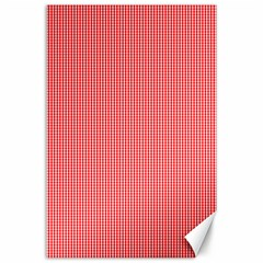 Christmas Red Velvet Mini Gingham Check Plaid Canvas 24  X 36  by PodArtist