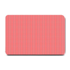 Christmas Red Velvet Mini Gingham Check Plaid Small Doormat  by PodArtist