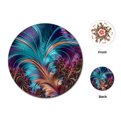 Feather Fractal Artistic Design Playing Cards (round)  by BangZart