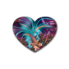 Feather Fractal Artistic Design Heart Coaster (4 Pack)  by BangZart