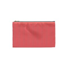 Christmas Red Velvet Mini Gingham Check Plaid Cosmetic Bag (small)  by PodArtist