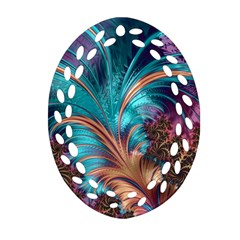 Feather Fractal Artistic Design Oval Filigree Ornament (two Sides) by BangZart