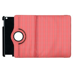 Christmas Red Velvet Mini Gingham Check Plaid Apple Ipad 2 Flip 360 Case by PodArtist