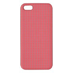 Christmas Red Velvet Mini Gingham Check Plaid Apple Iphone 5 Premium Hardshell Case by PodArtist