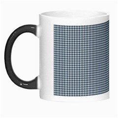 Silent Night Blue Mini Gingham Check Plaid Morph Mugs by PodArtist