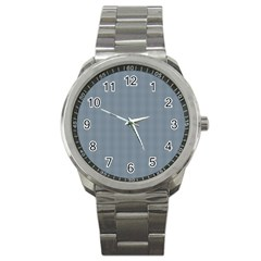 Silent Night Blue Mini Gingham Check Plaid Sport Metal Watch by PodArtist