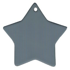 Silent Night Blue Mini Gingham Check Plaid Star Ornament (two Sides) by PodArtist