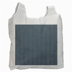 Silent Night Blue Mini Gingham Check Plaid Recycle Bag (two Side)  by PodArtist