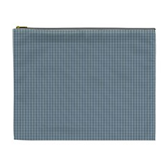 Silent Night Blue Mini Gingham Check Plaid Cosmetic Bag (xl) by PodArtist
