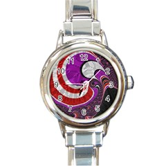 Fractal Art Red Design Pattern Round Italian Charm Watch by BangZart