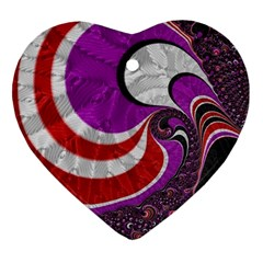 Fractal Art Red Design Pattern Heart Ornament (two Sides) by BangZart