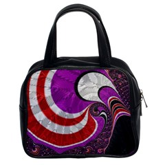 Fractal Art Red Design Pattern Classic Handbags (2 Sides) by BangZart
