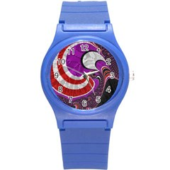 Fractal Art Red Design Pattern Round Plastic Sport Watch (s) by BangZart