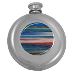Background Horizontal Lines Round Hip Flask (5 Oz) by BangZart
