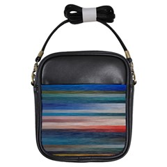 Background Horizontal Lines Girls Sling Bags by BangZart