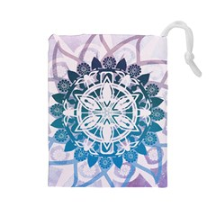 Mandalas Symmetry Meditation Round Drawstring Pouches (large)