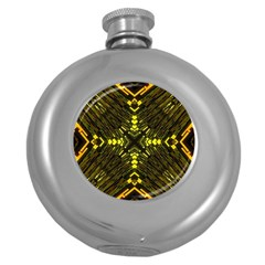 Abstract Glow Kaleidoscopic Light Round Hip Flask (5 Oz) by BangZart