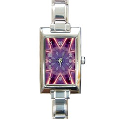 Abstract Glow Kaleidoscopic Light Rectangle Italian Charm Watch