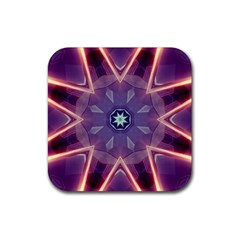 Abstract Glow Kaleidoscopic Light Rubber Coaster (square)  by BangZart