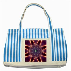 Abstract Glow Kaleidoscopic Light Striped Blue Tote Bag by BangZart