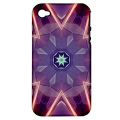 Abstract Glow Kaleidoscopic Light Apple Iphone 4/4s Hardshell Case (pc+silicone) by BangZart