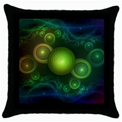 Retrotacular Rainbow Dots In A Fractal Microscope Throw Pillow Case (black) by jayaprime