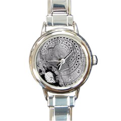 Fragmented Fractal Memories And Gunpowder Glass Round Italian Charm Watch by jayaprime