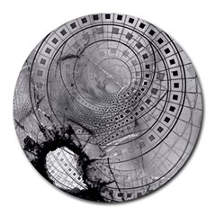 Fragmented Fractal Memories And Gunpowder Glass Round Mousepads by jayaprime