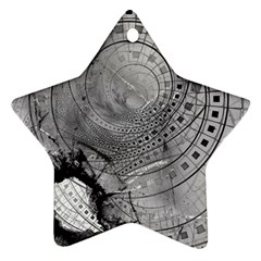 Fragmented Fractal Memories And Gunpowder Glass Ornament (star) by jayaprime