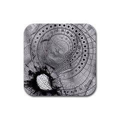 Fragmented Fractal Memories And Gunpowder Glass Rubber Square Coaster (4 Pack)  by jayaprime
