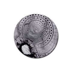 Fragmented Fractal Memories And Gunpowder Glass Rubber Coaster (round)  by jayaprime