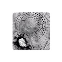Fragmented Fractal Memories And Gunpowder Glass Square Magnet by jayaprime