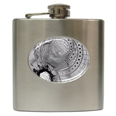 Fragmented Fractal Memories And Gunpowder Glass Hip Flask (6 Oz) by jayaprime