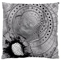 Fragmented Fractal Memories And Gunpowder Glass Large Flano Cushion Case (one Side) by jayaprime