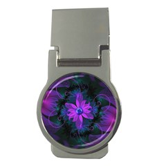 Beautiful Ultraviolet Lilac Orchid Fractal Flowers Money Clips (round)  by jayaprime