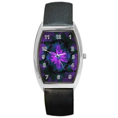 Beautiful Ultraviolet Lilac Orchid Fractal Flowers Barrel Style Metal Watch by jayaprime