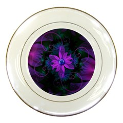 Beautiful Ultraviolet Lilac Orchid Fractal Flowers Porcelain Plates by jayaprime