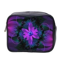Beautiful Ultraviolet Lilac Orchid Fractal Flowers Mini Toiletries Bag 2 Side by jayaprime