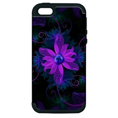 Beautiful Ultraviolet Lilac Orchid Fractal Flowers Apple Iphone 5 Hardshell Case (pc+silicone) by jayaprime