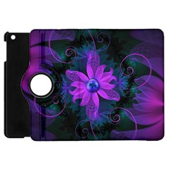 Beautiful Ultraviolet Lilac Orchid Fractal Flowers Apple Ipad Mini Flip 360 Case by jayaprime