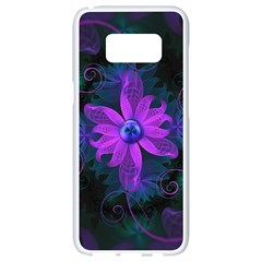 Beautiful Ultraviolet Lilac Orchid Fractal Flowers Samsung Galaxy S8 White Seamless Case by jayaprime