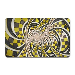 Liquid Taxi Cab, A Yellow Checkered Retro Fractal Magnet (rectangular) by jayaprime