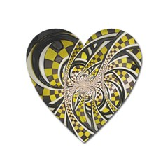 Liquid Taxi Cab, A Yellow Checkered Retro Fractal Heart Magnet by jayaprime