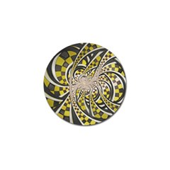 Liquid Taxi Cab, A Yellow Checkered Retro Fractal Golf Ball Marker (10 Pack) by jayaprime