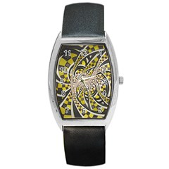 Liquid Taxi Cab, A Yellow Checkered Retro Fractal Barrel Style Metal Watch by jayaprime