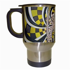 Liquid Taxi Cab, A Yellow Checkered Retro Fractal Travel Mugs (white) by jayaprime