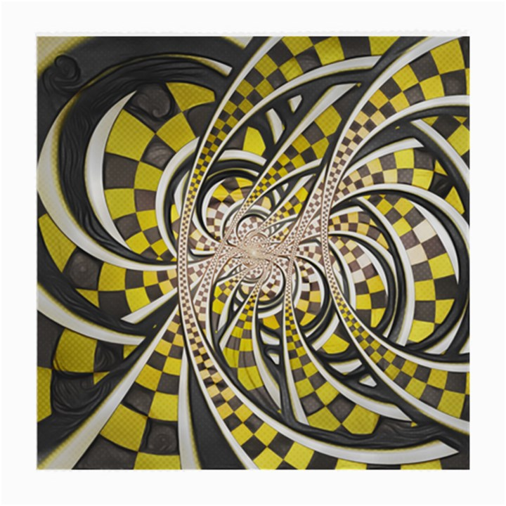 Liquid Taxi Cab, a Yellow Checkered Retro Fractal Medium Glasses Cloth (2-Side)